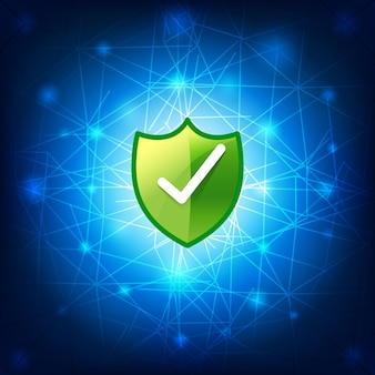 Сетевое подключение защитного экрана на синем фоне
