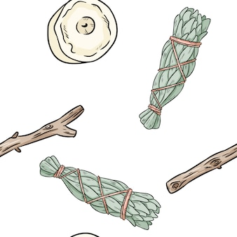 Sage smudge sticks and candles hand-drawn boho seamless pattern