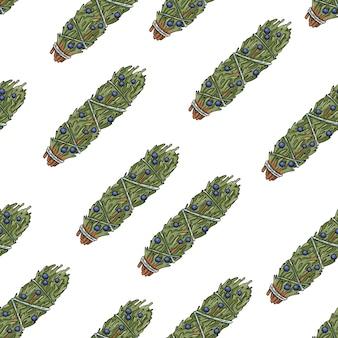 Sage smudge sticks hand-drawn boho seamless pattern. juniper herb bundle texture background