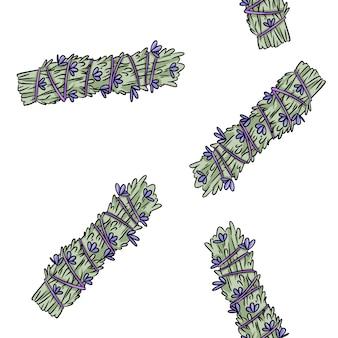 Sage smudge sticks hand-drawn boho seamless pattern. lavender herb bundle