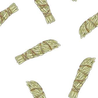 Sage smudge sticks hand-drawn boho seamless pattern. mugwort herb bundle