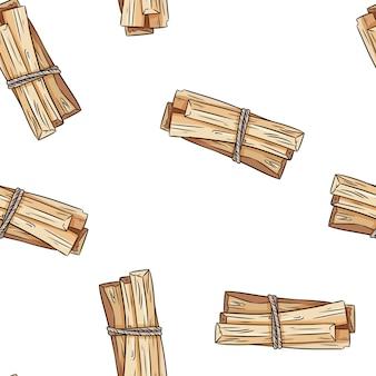 Sage smudge sticks hand-drawn boho seamless pattern. palo santo herb bundle