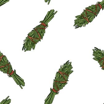Sage smudge sticks hand-drawn boho seamless pattern. rosemary herb bundle