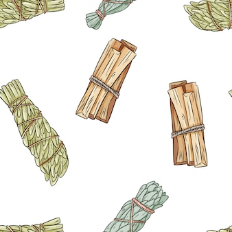 Sage smudge sticks hand-drawn boho seamless pattern. sage, mugwort and palo santo bundle texture background