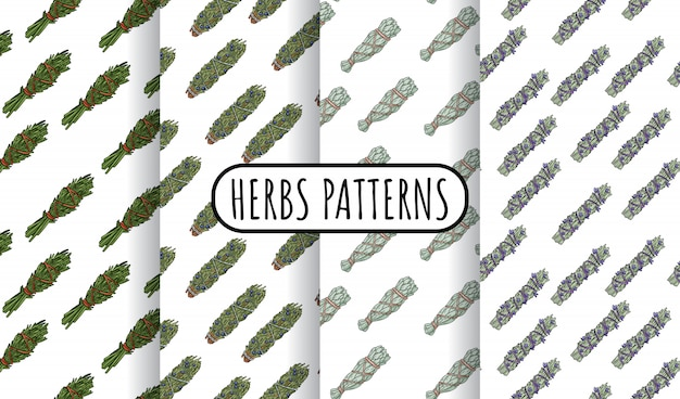 Sage smudge sticks hand-drawn boho seamless patterns set. herbs bundle  tiles collection