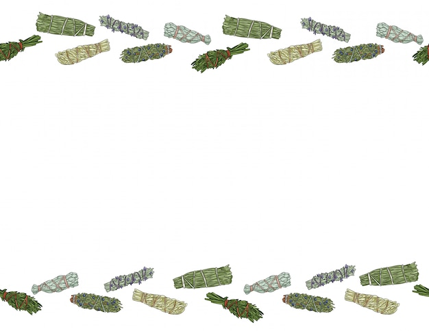 Sage smudge sticks hand-drawn letter format seamless ornament. herb bundles pattern