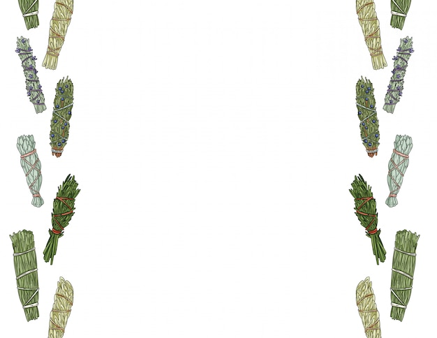 Sage smudge палочки рисованной буквы формата бесшовные модели. травяные пучки орнамент