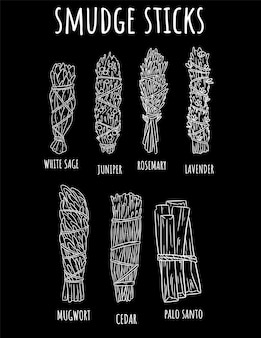 Sage smudge палочки рисованной набор эскизов рисунков на доске. пучки трав