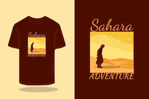 Дизайн макета футболки sahara adventure vector art