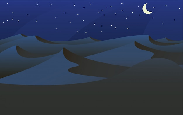 Sahara desert at night with cresent moon in a landscape background vector illustration -vector