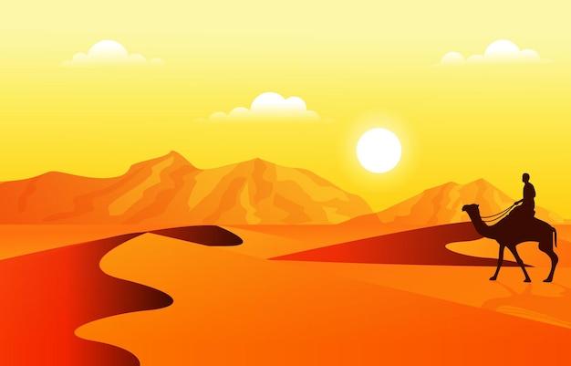 사하라 사막 여행 여행 낙타 아라비아 문화 삽화