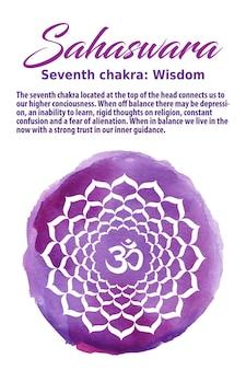 紫の水彩ドットのサハスワラチャクラのシンボル。クラウンチャクラ