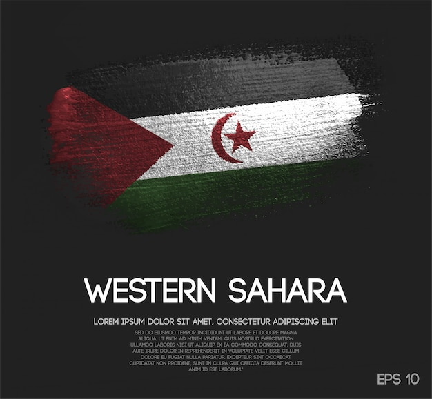 Sahrawi flag made of glitter sparkle brush paint vector