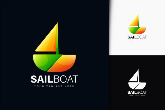 Sail boat logo design with gradient