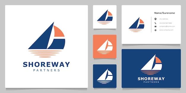 Sail boat on the water transportasion nautical logo design