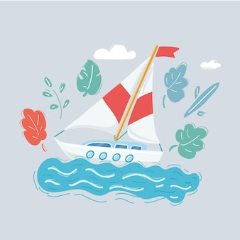 Sail boat on white background