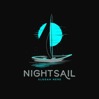 Sail boat with moonlight backdrop grunge logo