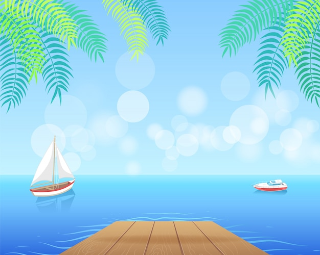 Sail boat with white canvas sailing in deep waters illustration