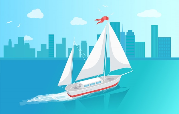 Sail boat with white canvas sailing in deep waters