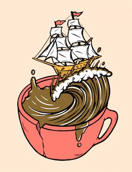 Sail coffee illustration