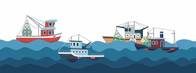 Sail and fishing boats in ocean waves  illustration