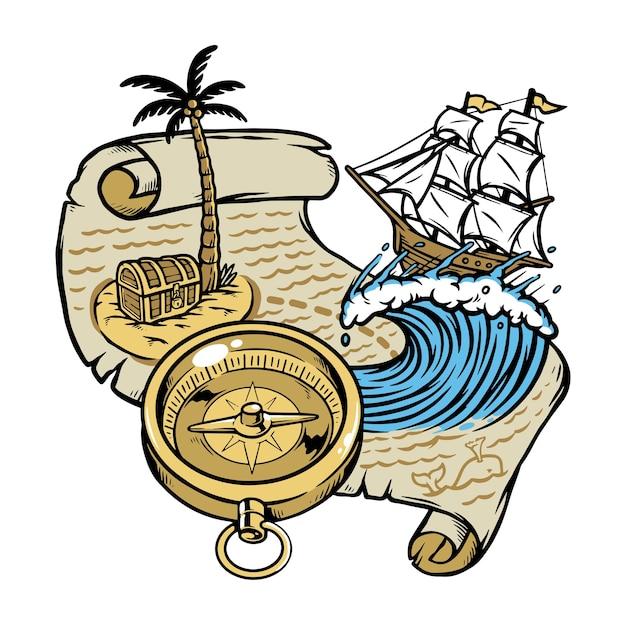 白で隔離された宝の地図に従って航海する