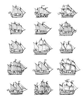 帆船、帆船、ブリガンティンのビンテージスケッチ