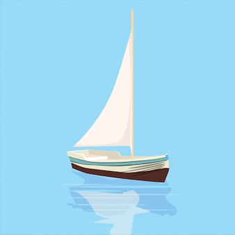 Sailboat, banner, vector illustration, cartoon style, isolated