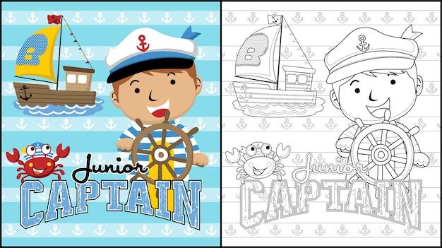 Sailboat captain cartoon on steering wheel