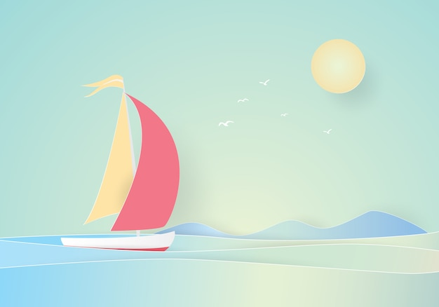 Sailboat floating in the sea, paper cut