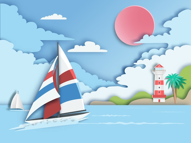 Sailboat floating on sea with lighthouse