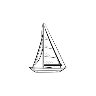 요트 손으로 그린 개요 낙서 아이콘입니다. 보트 여행 및 요트, 수상 운송, 레크리에이션 개념
