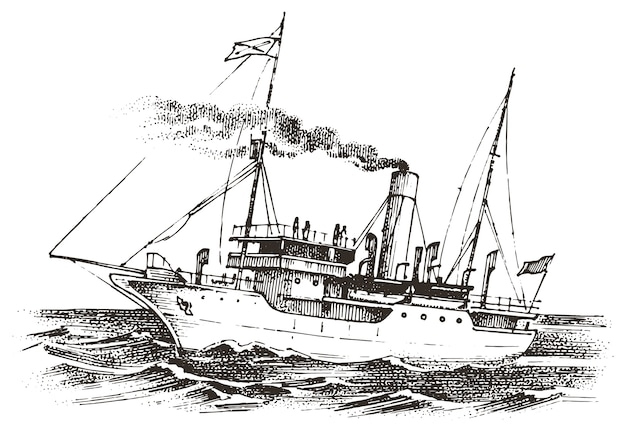 海のヨット、夏の冒険、アクティブな休暇。航海船、船舶または船舶。船乗りと船長のための海での水輸送。ビンテージスタイルで描かれた刻まれた手。