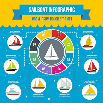 Sailboat infographic template, flat style