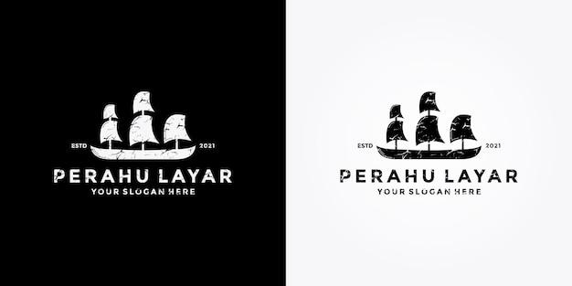 Sailboat logo design retro style vector template