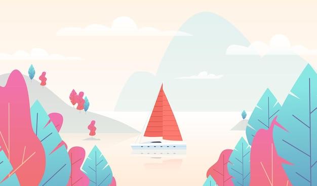 Панорама парусника с прудом. сцена горной природы с лодкой и озером, райский фон с розовыми и голубыми деревьями, горами и морем, экзотические летние каникулы курорта. плоские векторные иллюстрации шаржа
