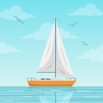 Sailboat on the sea background