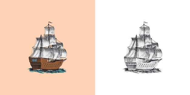 Sailboat in the sea summer adventure active vacation seagoing vessel marine ship or nautical caravel