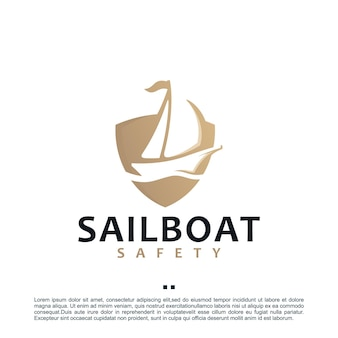 Sailboat , shield , logo design template