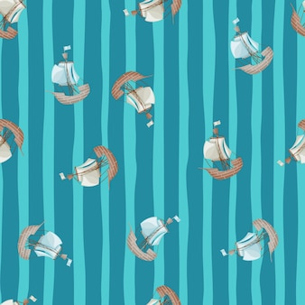 Sailboat ship silhouettes random little seamless pattern. blue striped background. hand drawn artwork. designed for fabric design, textile print, wrapping, cover. vector illustration.