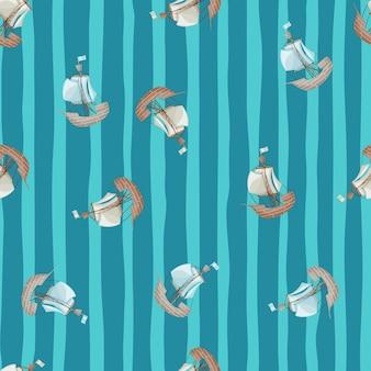 범선 배 실루엣 임의의 작은 완벽 한 패턴입니다. 파란색 줄무늬 배경입니다. 손으로 그린 작품. 패브릭 디자인, 섬유 인쇄, 포장, 커버용으로 설계되었습니다. 벡터 일러스트 레이 션.