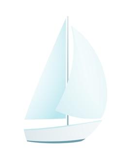 白で隔離のヨットシンプルなフラットベクトルデザイン。