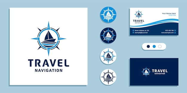 Sailboat with compass sign. journey marine navigation logo and business card design template