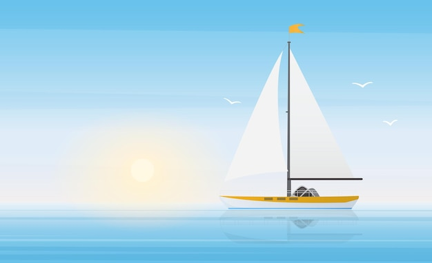 Sailboat yacht in clear blue water waves of sea or ocean landscape in sunny beautiful day