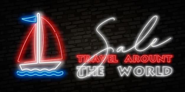 Sailboat, yacht, ship. summer travel neon effect