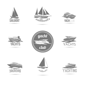 Sailboat and yachts silhouettes set
