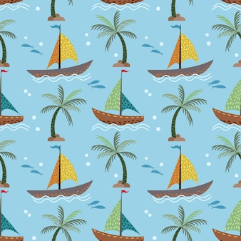 Sailboats and coconut tree seamless pattern.