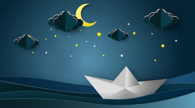 Sailboats on the ocean landscape with moon and stars