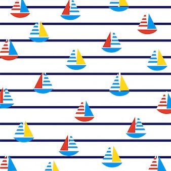 Sailboats on marine stripes.