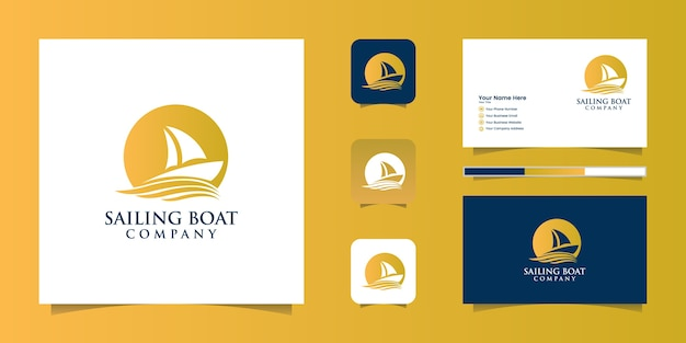 Sailiing boat icon logo and business card